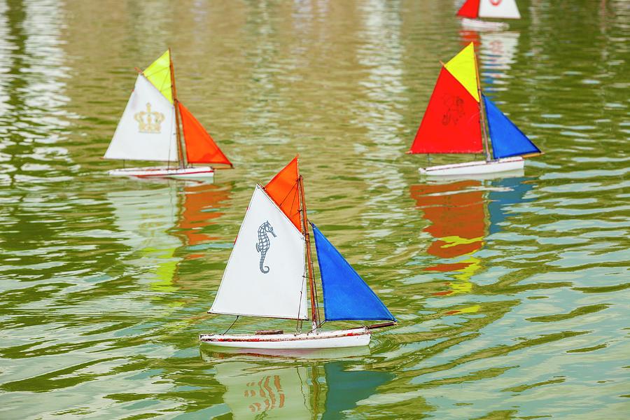 Model Sailboats In Pond, Paris Photograph by Stuart Dee