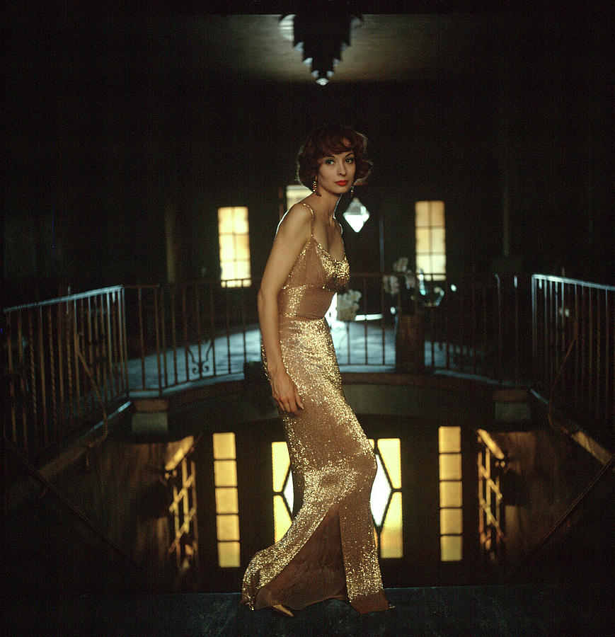 Model Wearing Gold-beaded Sheath Gown Photograph by Gordon Parks
