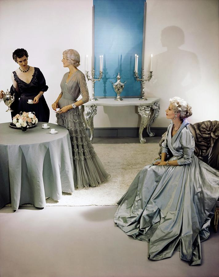 Models In Eta Evening Gowns Photograph by Horst P. Horst