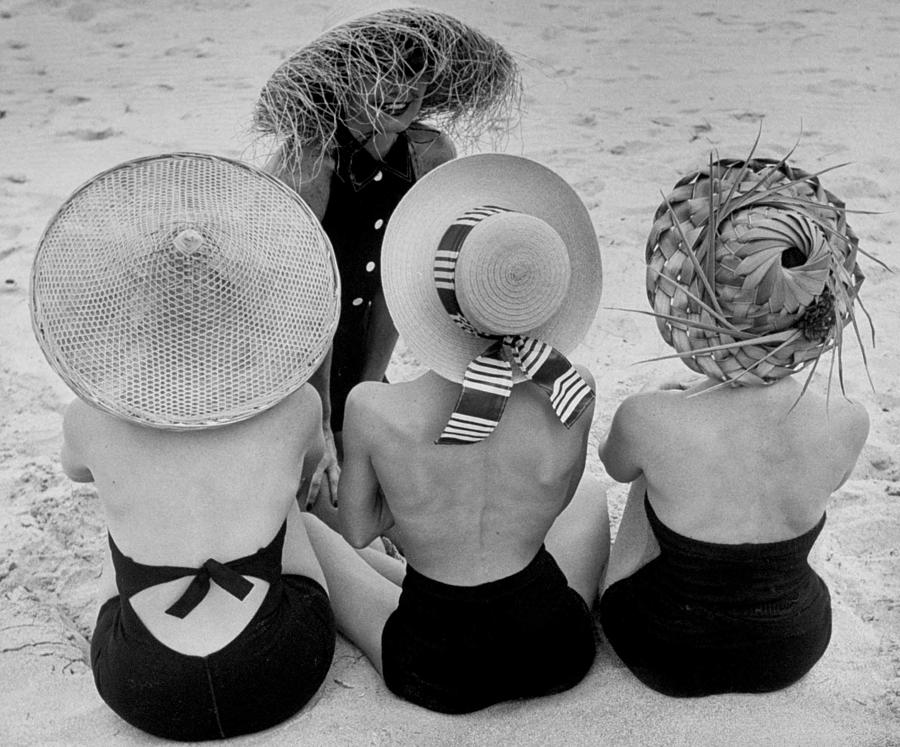 Models On Beach Wearing Different Design Photograph by Nina Leen