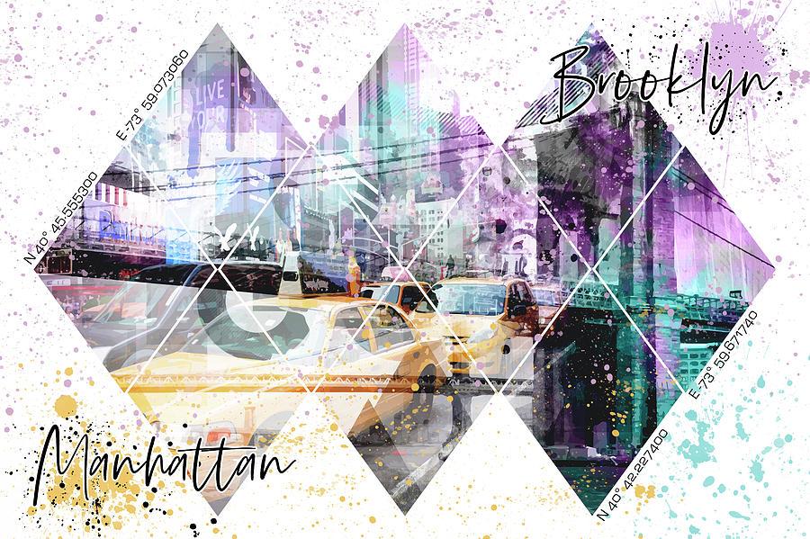 Manhattan Mixed Media - Modern Art Coordninates Manhattan And Brooklyn by Melanie Viola