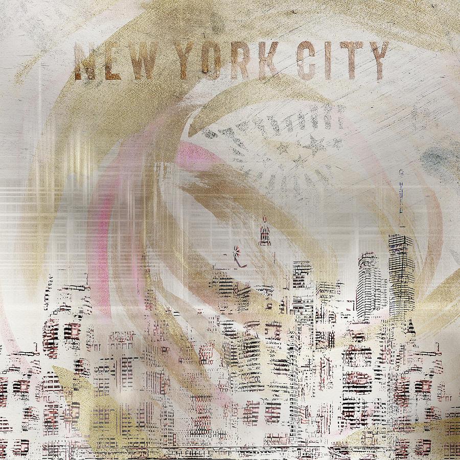 MODERN ART New York City Skylines - golden swirl by Melanie Viola