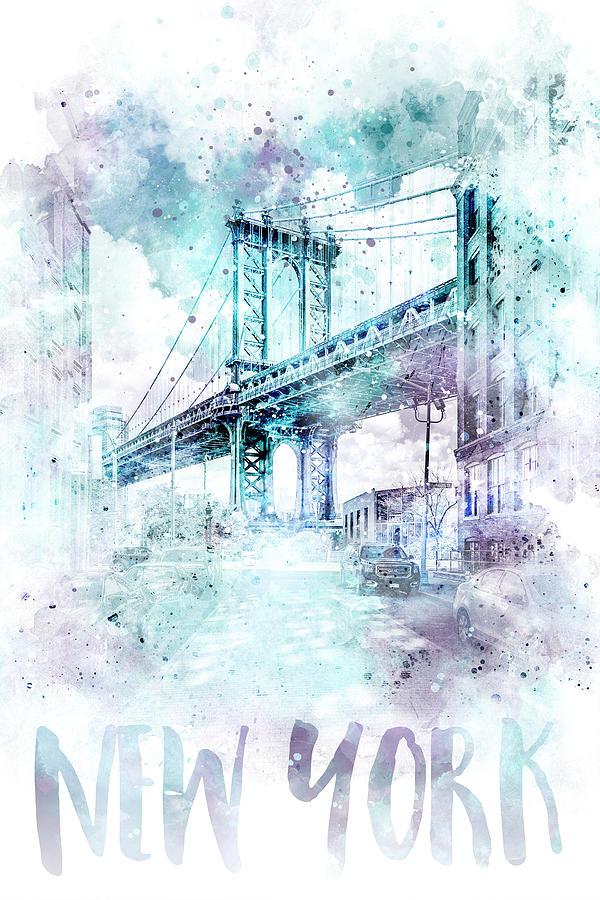 New York City Mixed Media - Modern Art Nyc Manhattan Bridge - Jazzy Watercolor by Melanie Viola