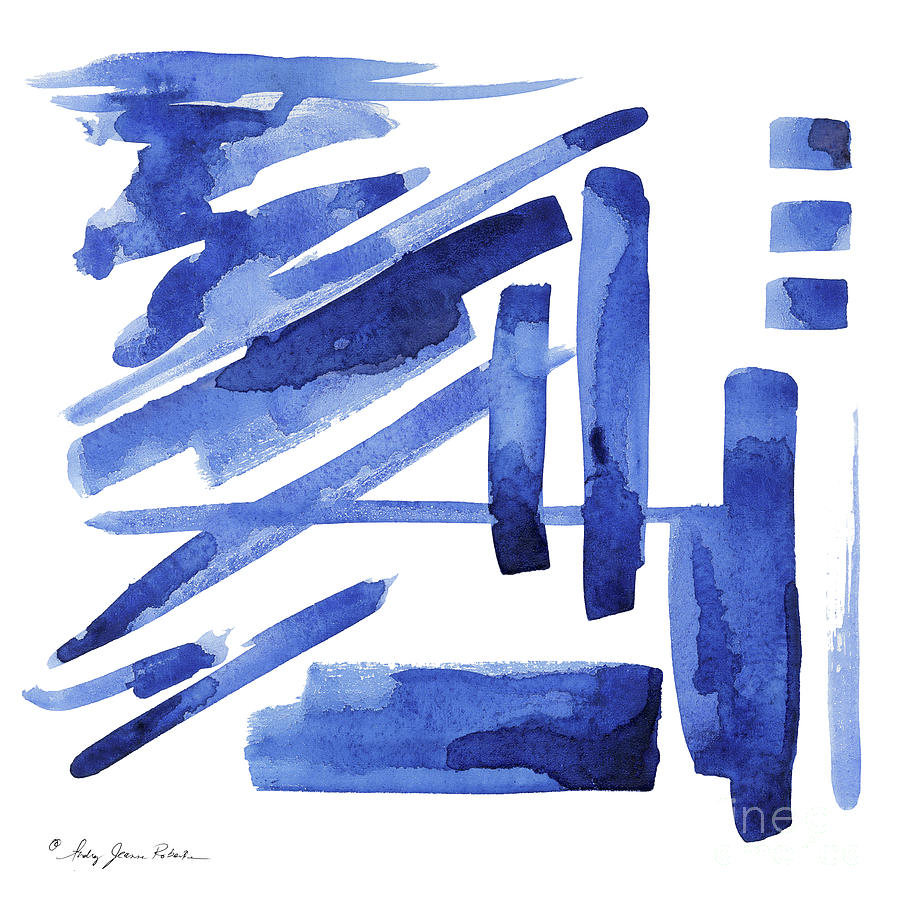 Modern Asian Inspired Abstract Blue and White 3 by Audrey Jeanne Roberts