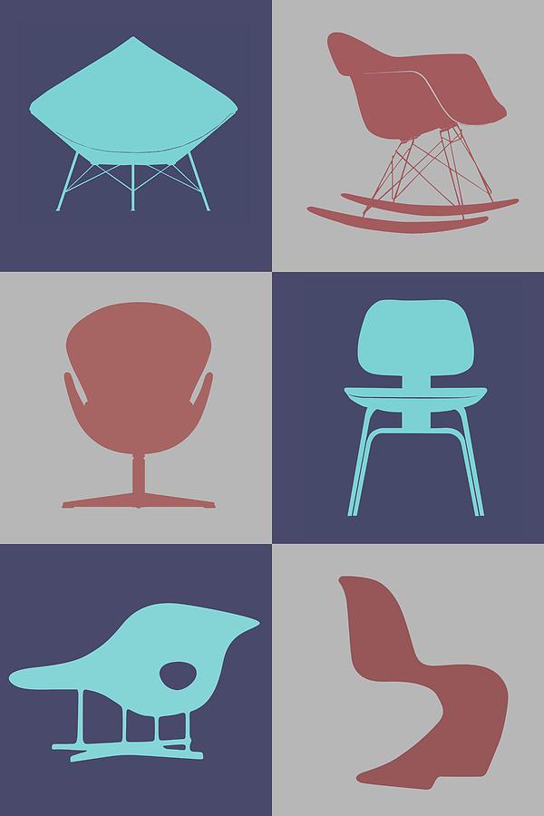 Mid-century Digital Art - Modern Chair Collection  by Naxart Studio