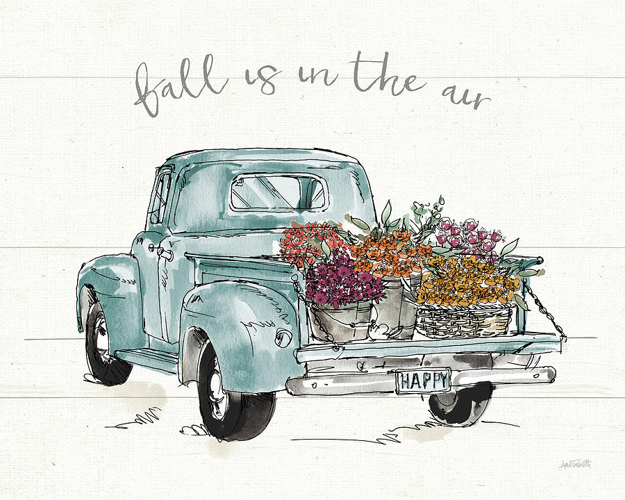 Autumn Painting - Modern Farmhouse Ix Blue Truck by Anne Tavoletti