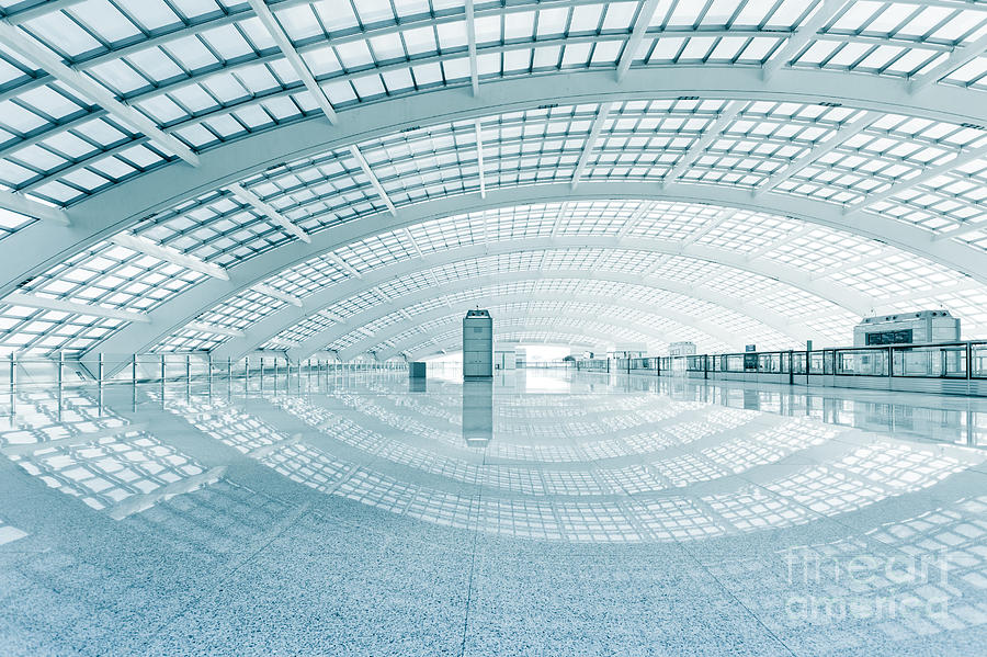 Steel Photograph - Modern Hall Of Subway Station  At T3 by Ssguy