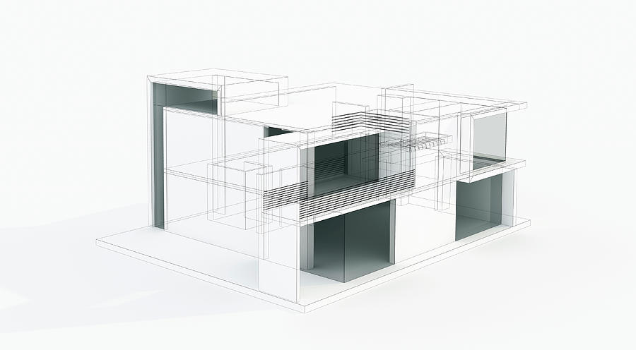 Modern House 3d Model Concept. Wire Photograph by Petreplesea