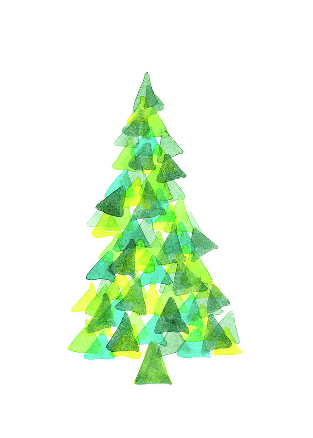 Modern Triangle Christmas Tree Watercolor Painting Painting By