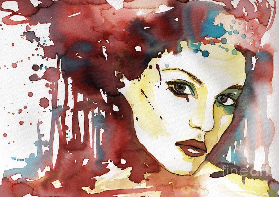 modern watercolor portrait by Katarzyna Bruniewska-Gierczak