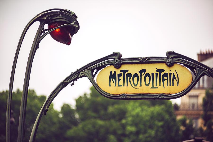 Modernist architecture detail of Metro station. Paris, France by Eduardo Huelin
