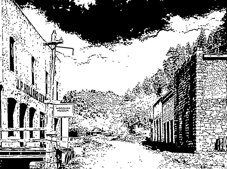 Ghost Town Drawing - Mogollon New Mexico Ghost Town by Kevin Heaney