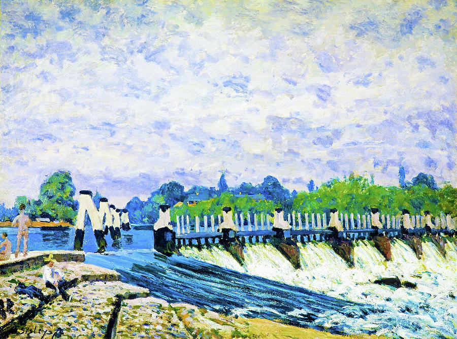 Hampton Court Painting - Molesey Weir, Hampton Court - Digital Remastered Edition by Alfred Sisley