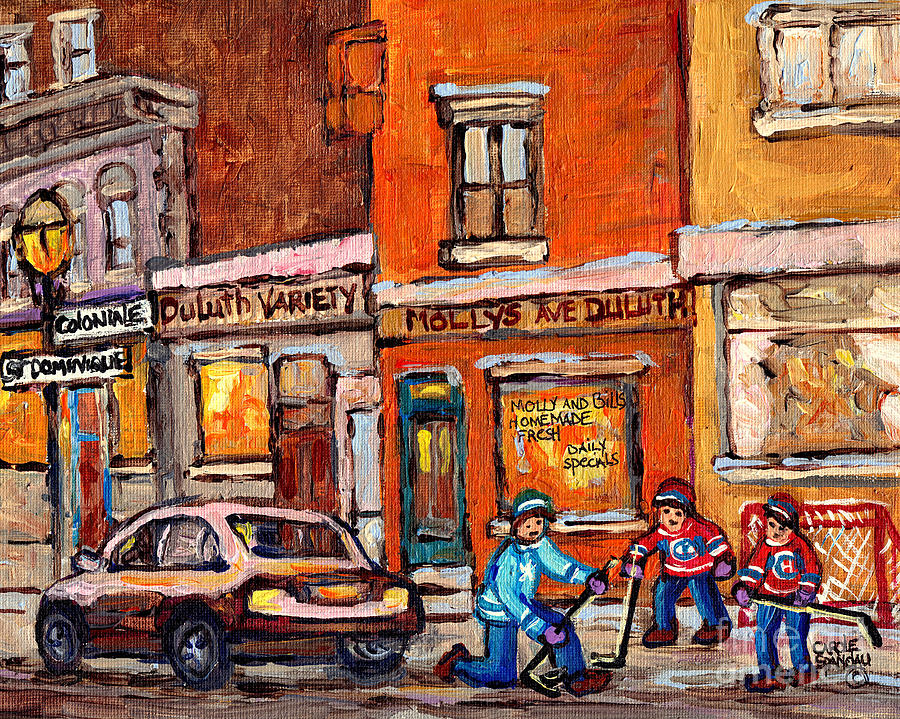 MOLLY AND BILL'S DULUTH NEAR COLONIALE AND ST DOMINIQUE C SPANDAU PLATEAU MONT ROYAL HOCKEY ARTIST  by CAROLE SPANDAU