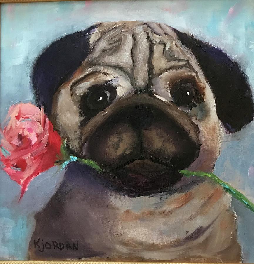 Pug Painting - Molly Pug by Karen Jordan