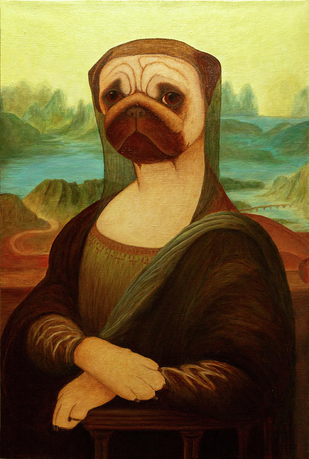Pug Painting - Mona Puglisa by Yuliia Ustymenko