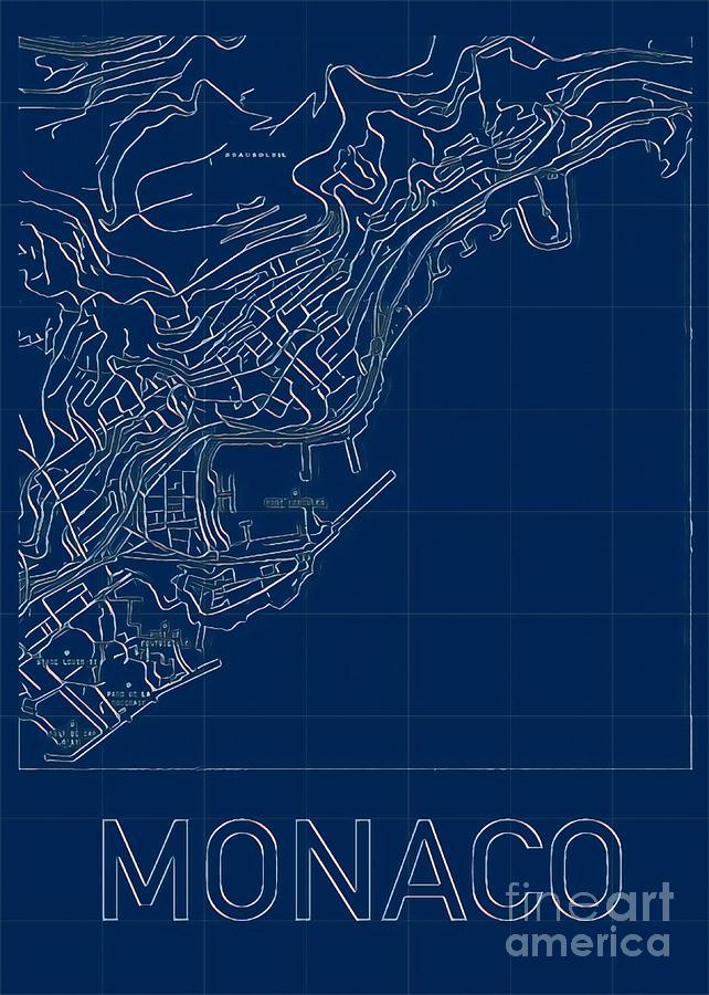 Monaco Blueprint City Map Digital Art by HELGE Art Gallery