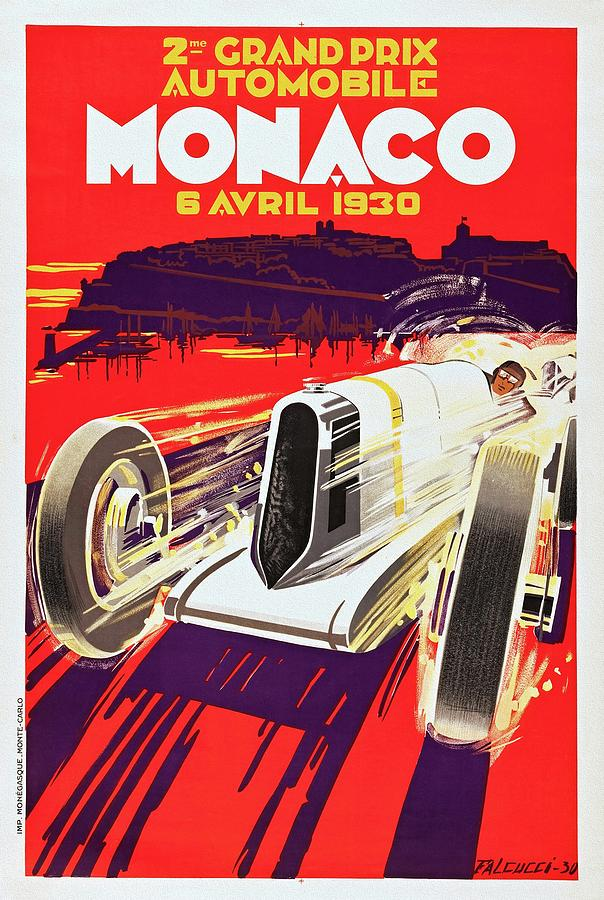 Grand Prix Painting - Monaco Grand Prix 1930, Vintage Racing Poster by Unknown