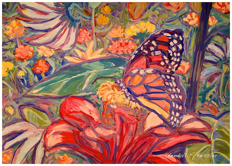 Monarch Painting - Monarch on Red by Kendall Kessler