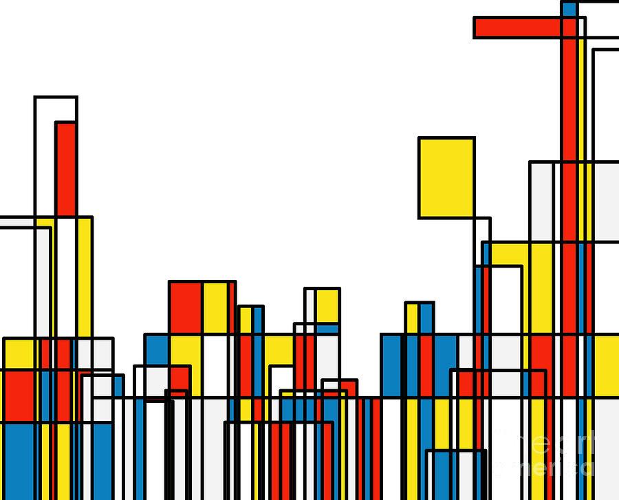Mondrian Style Geometric Pattern Digital Art by Shuoshu
