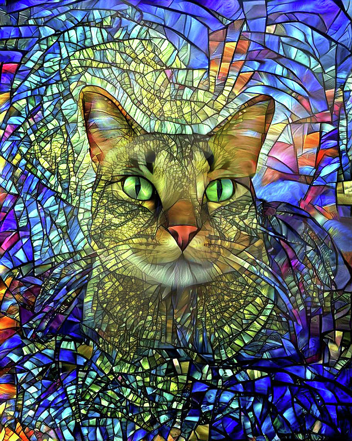 Monet the Stained Glass Tabby Cat by Peggy Collins