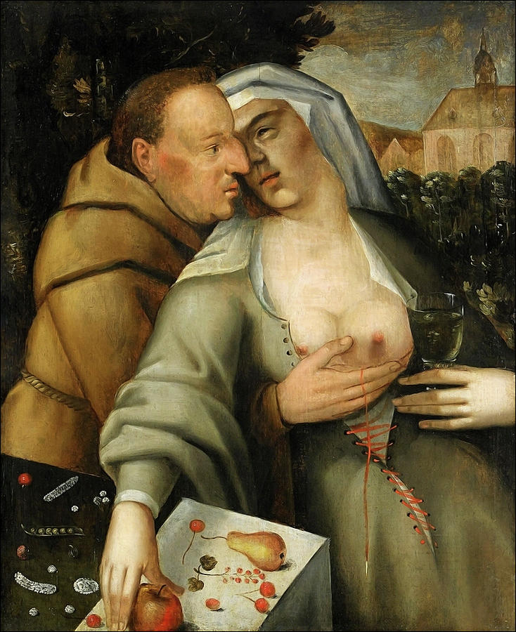 Netherlands Painting - Monk and nun embrace each other by Cornelis van Haarlem