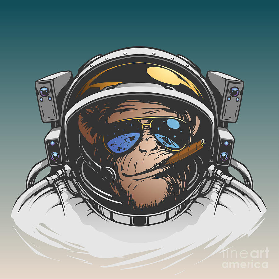 Symbol Digital Art - Monkey Astronaut Illustration by D1sk