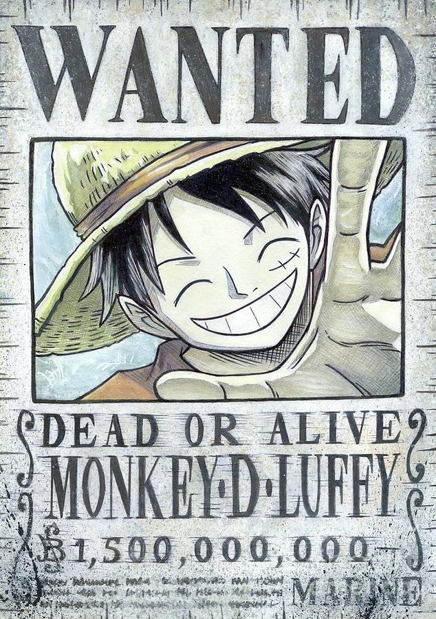 Monkey D Luffy Wanted Poster Handmade Print