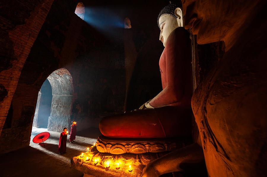 Bagan Photograph - Monks In Bagan Stupa by Sanjoy Sengupta