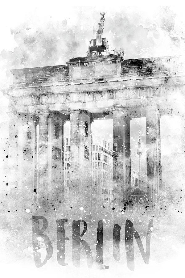 Monochrome Art BERLIN Brandenburg Gate - Watercolor by Melanie Viola