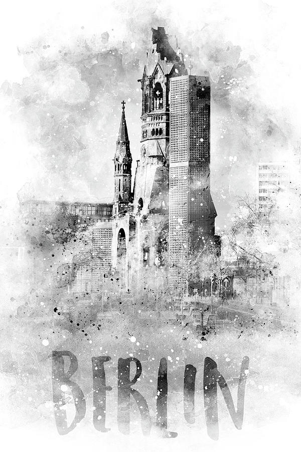 Monochrome Art BERLIN Kaiser Wilhelm Memorial Church - watercolor by Melanie Viola