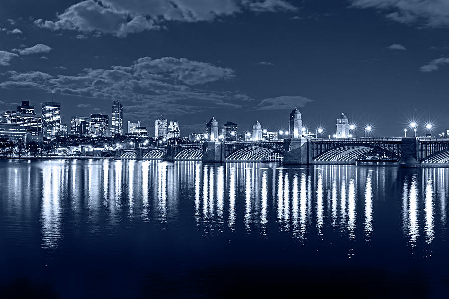 Monochrome Blue Nights The Longfellow Bridge Lit up at Night Boston MA Reflection by Toby McGuire