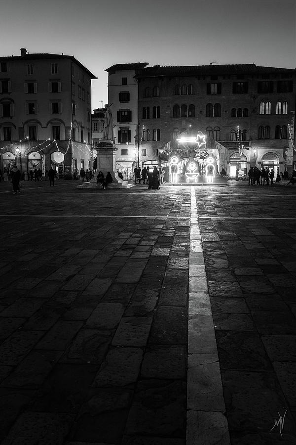 Monochrome Nativity - black and white christmas lights in Lucca, Tuscany, Italy by Matteo Viviani
