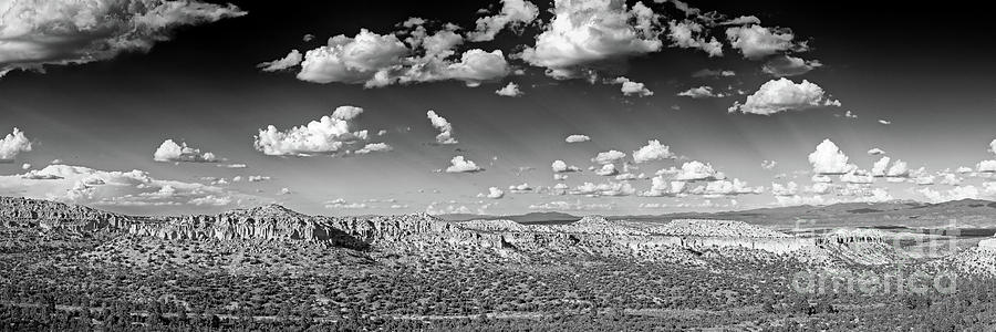Monochrome Panorama Of Anderson Overlook at Los Alamos - New Mexico Land of Enchantment by Silvio Ligutti