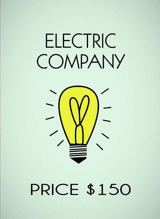 Electric Company Mixed Media - Monopoly Electric Company by Dan Sproul