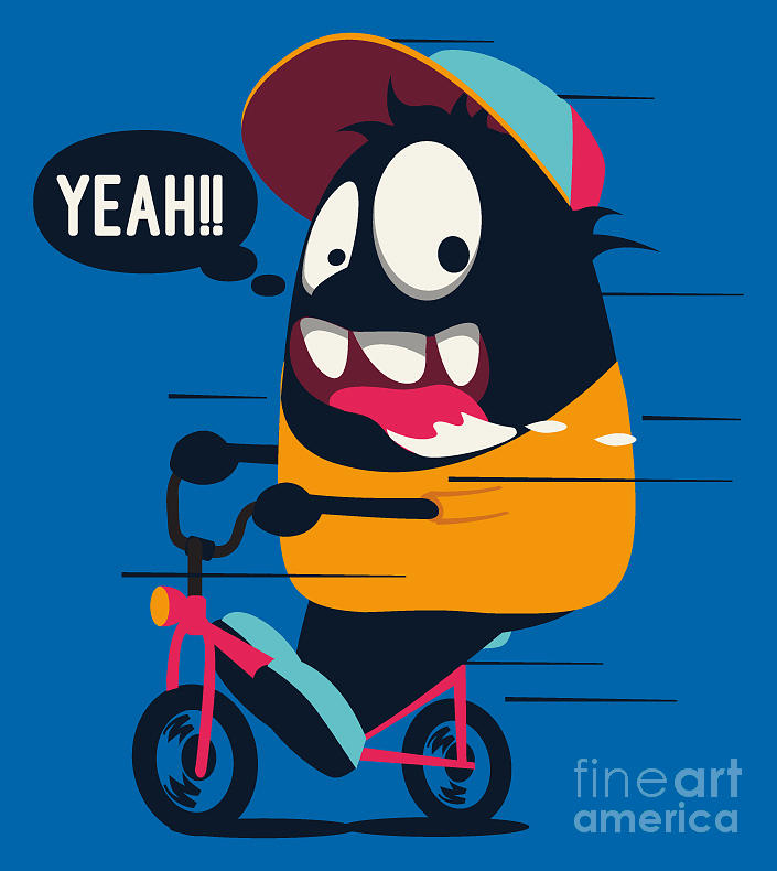 Dancing Digital Art - Monster On The Bicycle by Braingraph