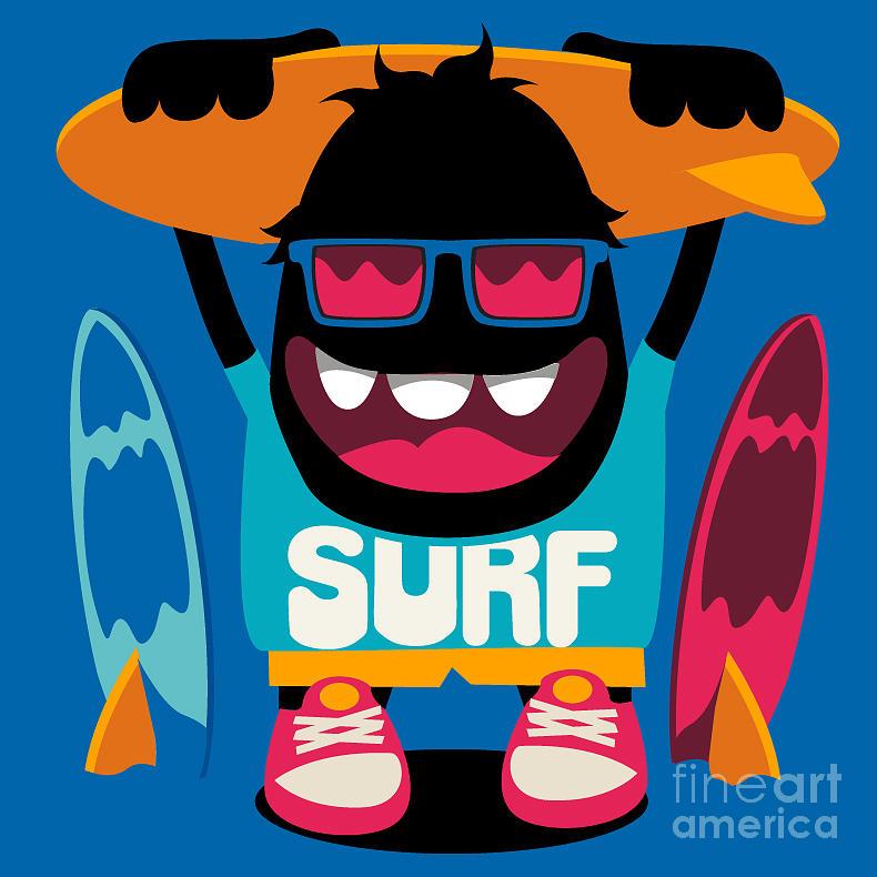 Symbol Digital Art - Monster Surfer Vector Character Design by Braingraph