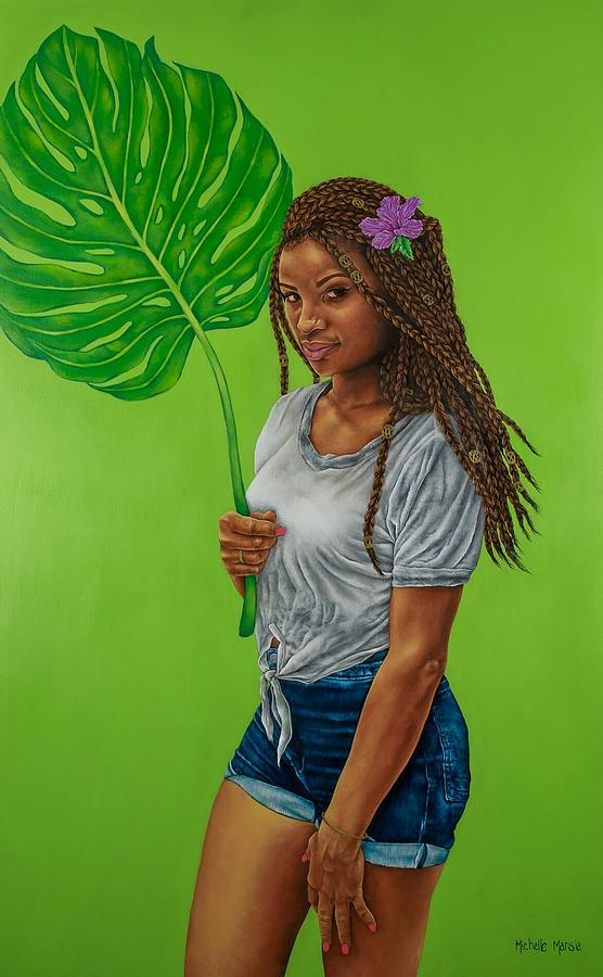 Figurative Painting - Monstera Leaf by Michelle Marsia