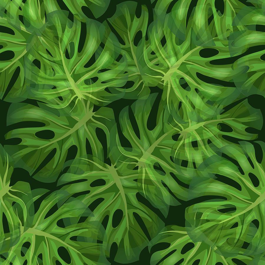 Monstera Leaf Pattern 1 - Tropical Leaf Pattern - Dark Green - Tropical, Botanical Pattern Design Mixed Media