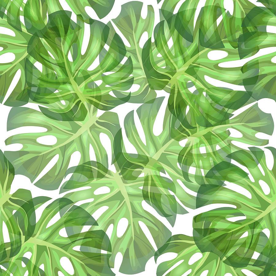 Monstera Leaf Pattern 2 - Tropical Leaf Pattern - Dark Green - Tropical, Botanical Pattern Design Mixed Media