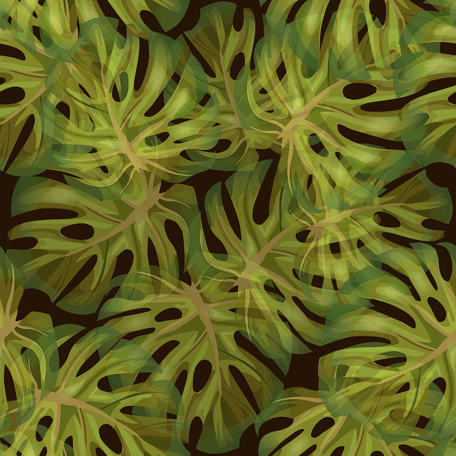 Monstera Leaf Pattern 3 - Tropical Leaf Pattern - Dark Green - Tropical, Botanical Pattern Design Mixed Media