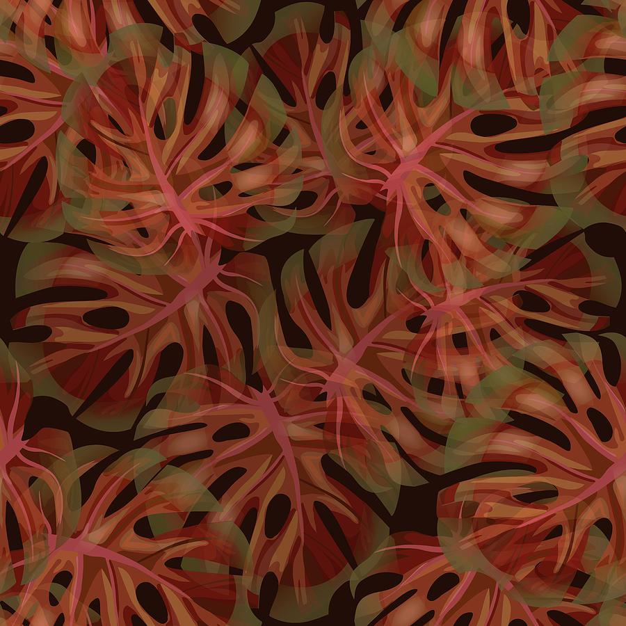 Monstera Leaf Pattern 4 - Tropical Leaf Pattern - Red, Brown - Tropical, Botanical Pattern Design Mixed Media