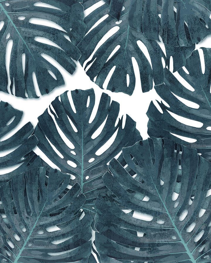 Monstera Leaf Pattern - Tropical Leaf Pattern - Blue - Tropical, Botanical - Modern, Minimal Decor Mixed Media