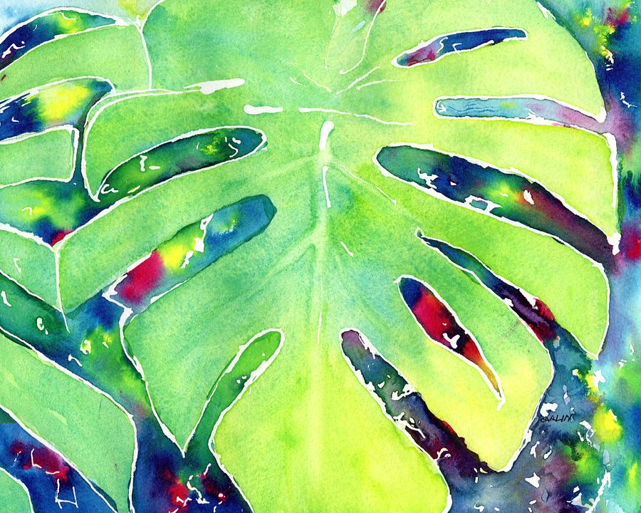 Monstera Tropical Leaves 1 by CarlinArt Watercolor