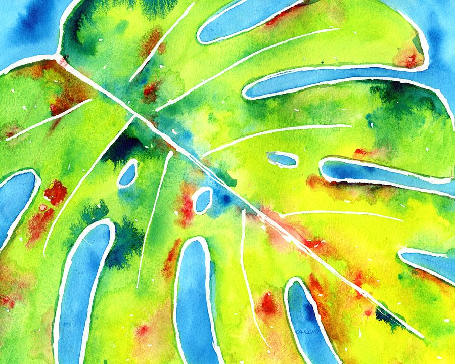 Monstera Tropical Leaves 5 by CarlinArt Watercolor