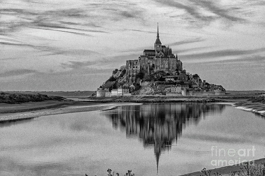 Mont Saint Michel France Evening Reflections BW by Wayne Moran