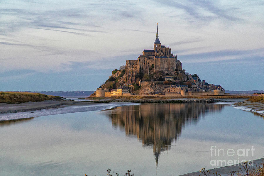 Mont Saint Michel France Evening Reflections by Wayne Moran