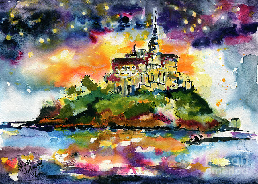 Mont Saint Michel France Watercolors by Ginette Callaway