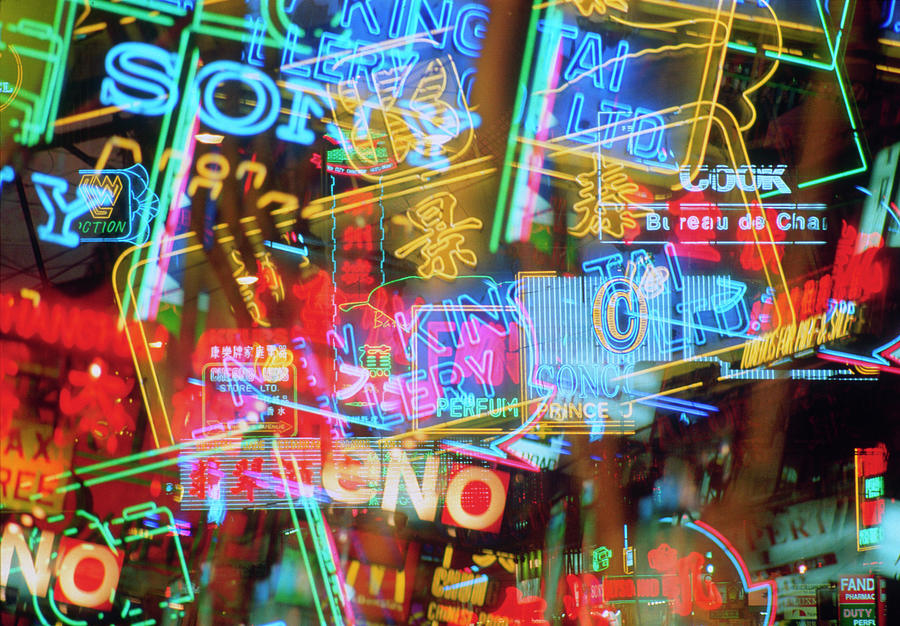 Montage Of Neon Signs At Night Photograph by Ian Lawrence