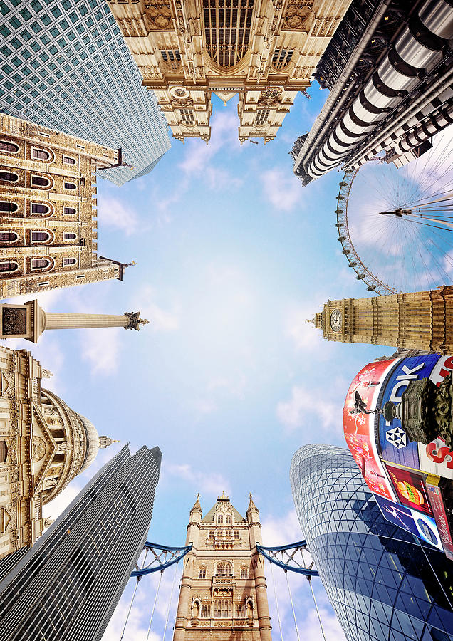 Piccadilly Circus Photograph - Montage Picture Of London Landmarks by Caroline Purser